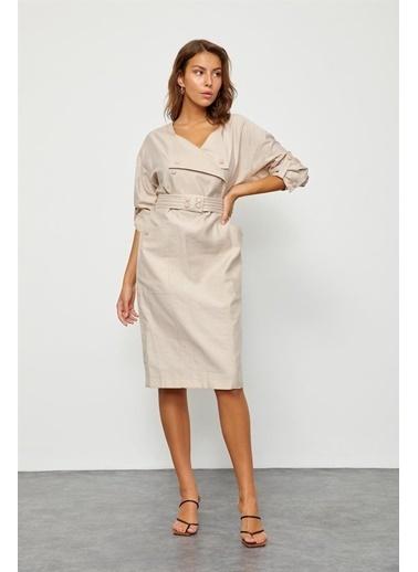 Setre Bej Çıtçıt Detaylı Kruvaze Elbise Bej